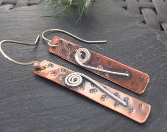 Long Mixed Metal Earrings, Copper Earrings with silver abstract flower design, Artisan jewellery, Long Copper Earrings, Copper Anniversary