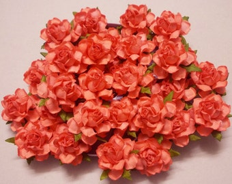 Coral paper flowers etsy 25 paper flowers size 15 mulberry paper craft flower paper flower craft mightylinksfo