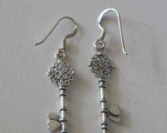 Sterling Silver KEY Earrings -  - SALE