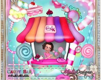 Candy Bar Clip Art:  Clipart Vector Art File, Instant Download, Cupcake Theme Digital Istant Download Shabby Chic