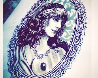 Gypsy tattoo pencil drawing pencil on paper 20 x 20 cm