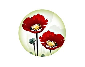 2 cabochons 16 mm glass poppy Collection - 16 mm