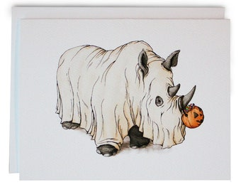Note Card w/Envelope - Halloween Rhino - Original Artwork