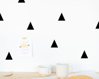 Triangle Wall Decals for happy homes, Eco-friendly wall decals, PVC-free wall decals, Kids room wall decals, Black, Pink, Mint, White, Blue