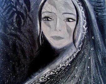 LUNA  Original Acrylic Painting  12 by 16 inches