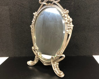 Antique Victorian Cast Iron Mirror with Easel