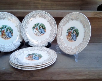 Antique China, Sebring Pottery, Chantilly Pattern Bread and Butter Plates, Dishes