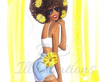Sunflower Girl (illustration print/ lifestyle art print/ storytelling drawing print)