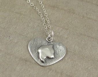 Cat Heart Necklace, Sterling Cat Heart Charm on a Silver Cable Chain