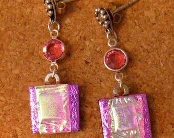 Dichroic Earrings - Pink Fused Glass Earrings - Dichroic Jewelry - Fused Glass Jewelry - Swarovski Crystals - Dichroic Post Earrings