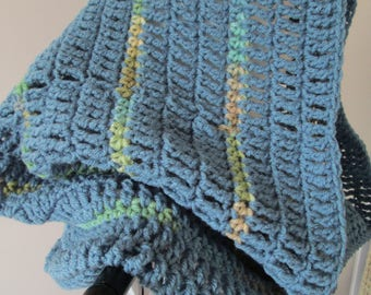 Crochet Cowl Scarf, Crochet Cowl Hood, Snood, Hooded Capelet, Large Cowl, Country Blue and Sea Grass, Ready to Ship