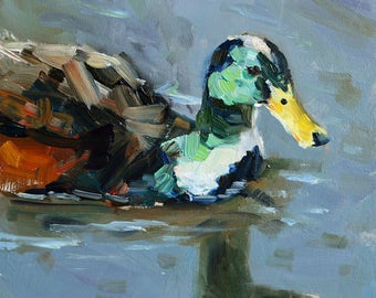 """small oil painting, """"Duck"""", oil on gessobord, 6x6 inch, 15x15 cm"""