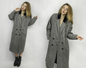 Vintage coat / Black white Coat / Midi coat / Tweed coat / Double breasted coat / Wool blend coat / English coat