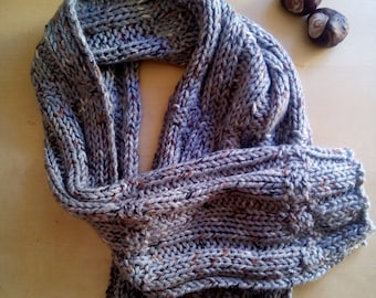 Hand made scarf for men in wool grey tweed-knitted Snood