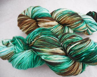 Hand Dyed Yarn, Hand Painted Yarn, Speckled Yarn - Ancient Forest