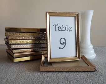"""3-1/2"""" x 5"""" gold metal picture frames // brass look, wedding signs, table numbers, bulk frames, photos, event supplies, reception 9x13 cm"""