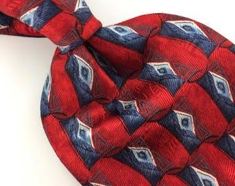 Preswick Moore Red Gray Blue Geometric Diamond Silk Necktie  Ties I10-140 Excellent Corbata Krawatte Cravatta Cravate
