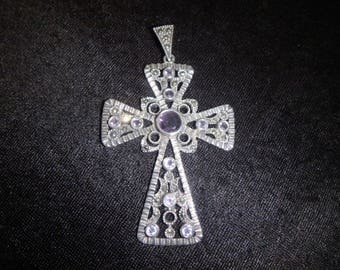 large sterling silver 925 cross marcasite amethyst  pendant  charm