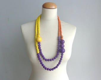 chunky necklace, yellow orange necklace, blue yellow necklace, blue orange necklace