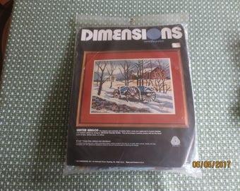 """1984 Dimensions WINTER WAGON by Kratz Sealed NEEDLEPOINT  Kit #2251 - 16"""" x 12"""""""