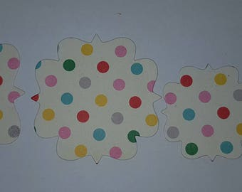 set of 5 poker dots and old fashion oven cutout  embellishments