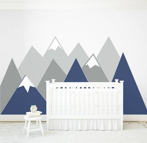 Mountains Wall Decal Wall Protection Navy MOUNTAIN Covering Corner Pattern Vinyl Customized Personalized Washable Headboard Sticker Nursery