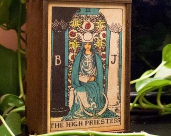 Tarot Cards Box High Priestess Stash Box High Priestess Tarot Treasure Box Tarot High Priestess Mindfulness Gift Spiritual Gift (14003MB)