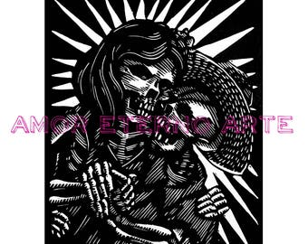 Dance Me to the End of Love linocut print by Chamuco Cortez