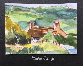 Landscape ORIGINAL Miniature Watercolour Hidden Cottage ACEO Country, Special Gift Watercolor  For him For her Home decor Wall art Gift Idea