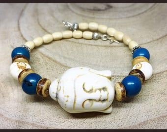 Bracelet adjustable blue Buddha meditation
