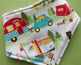 Cotton or bamboo bandana dribble bib (choose backing fabric) - caravan camp