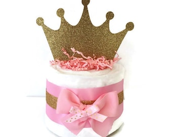 Mini Princess Pink and Gold Diaper Cakes, Princess Theme Baby Shower Centerpiece, Baby Girl Pink and Gold Baby Shower Gift