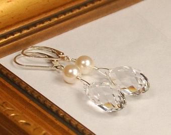 Clear Crystal Earrings, Bridal Wedding Earrings, Bridesmaid, Swarovski Crystal Briolette & Pearl in Sterling Silver, Maid of Honor Gift