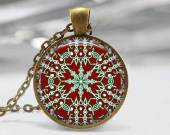 Christmas Necklace Christmas Jewelry Glass Tile Necklace Snowflake Jewelry Snowflake Necklace Glass Tile Jewelry Silver Jewelry