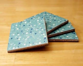 Coasters, Stars Decor, Coaster Set, Tile Coasters, Housewarming Gift, Home Decor, Gift Idea, Ceramic Tile Coasters, Birthday Gift