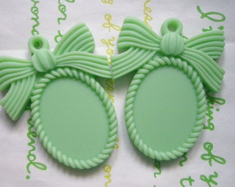 SALE MATTE Bow cameo setting frame 2pcs Mint Green Fits 25mm x 18mm cameo