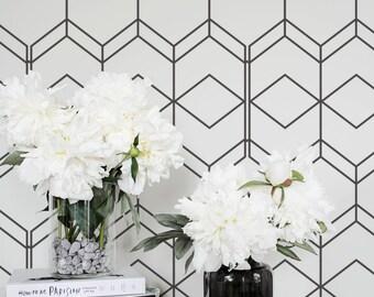 Simple Geometric Removable Wallpaper Self Adhesive Regular Wall Mural