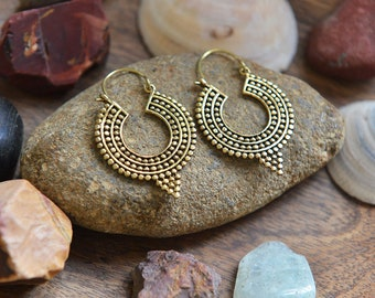 Boho and Shell Earrings, Ethnic Brass Earrings, Gipsy Earrings, Tribal Earrings, Indian Earrings, Bohemian Earrings, Yoga Jewellery