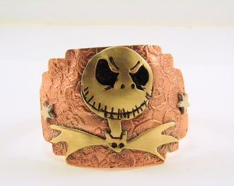 Inspired by  Jack Skellington, Nightmare Before Christmas, Mixed Metals Cuff, Bracelet