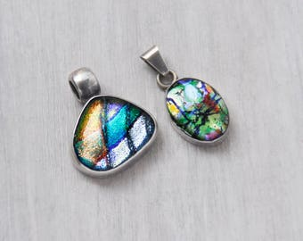 2 Dichroic Glass Pendants - 925 Mexican sterling silver freeform and oval charms - Taxco Mexico TS-62 and eagle mark 4