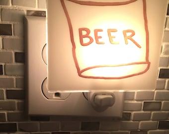 Beer Night Light Fused Glass