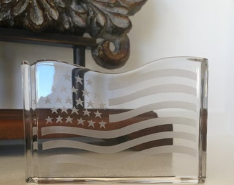 Val St Lambert Crystal American Flag Paperweight Signed USA TYCAALAK