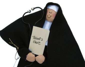 Novelty nun doll with stethoscope,  Doctor doll, physician gift, funny Catholic gift