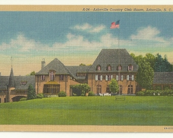 1940s Linen Postcard- View of Asheville Country Club, Asheville,  Buncombe County, North Carolina, NC ~ Free Shipping