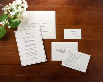 Classic letterpress wedding invitation