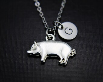 Pig Necklace - Pig Pendant Necklace - Pig Charm -  Animal Jewelry -  Long Pendant Necklace - Personalized Initial Necklace - Initial Jewelry