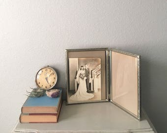 Double Vintage Picture Frame 8x10 in Lovely Silver Metal With Art Deco Filigree /  wedding photo frame / mid century decor / antique