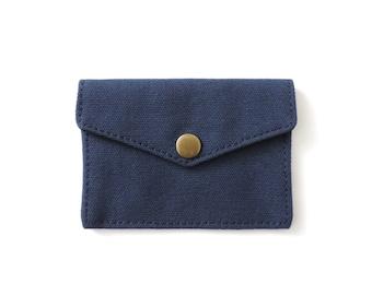 Canvas Snap Wallet Slim Minimalist Wallet Navy Blue
