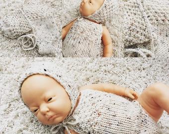 Newborn knit bonnet and romper set, photo prop,gift idea,coming home, knit,crochet,bonnet,romper,tweed look