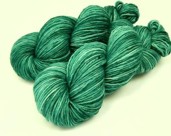 Hand Dyed Yarn, DK Weight Superwash Merino Wool - Bluegrass - Soft 100% Wool Single Ply Yarn, Teal Green Tonal